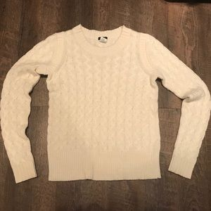 J Crew Cream Cable Knit Sweater